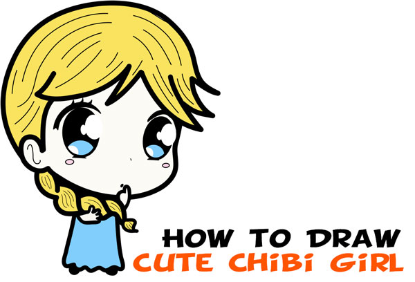How to Draw a Supercute Chibi Girl with Easy Step by Step Drawing Lesson for Kids & Beginners
