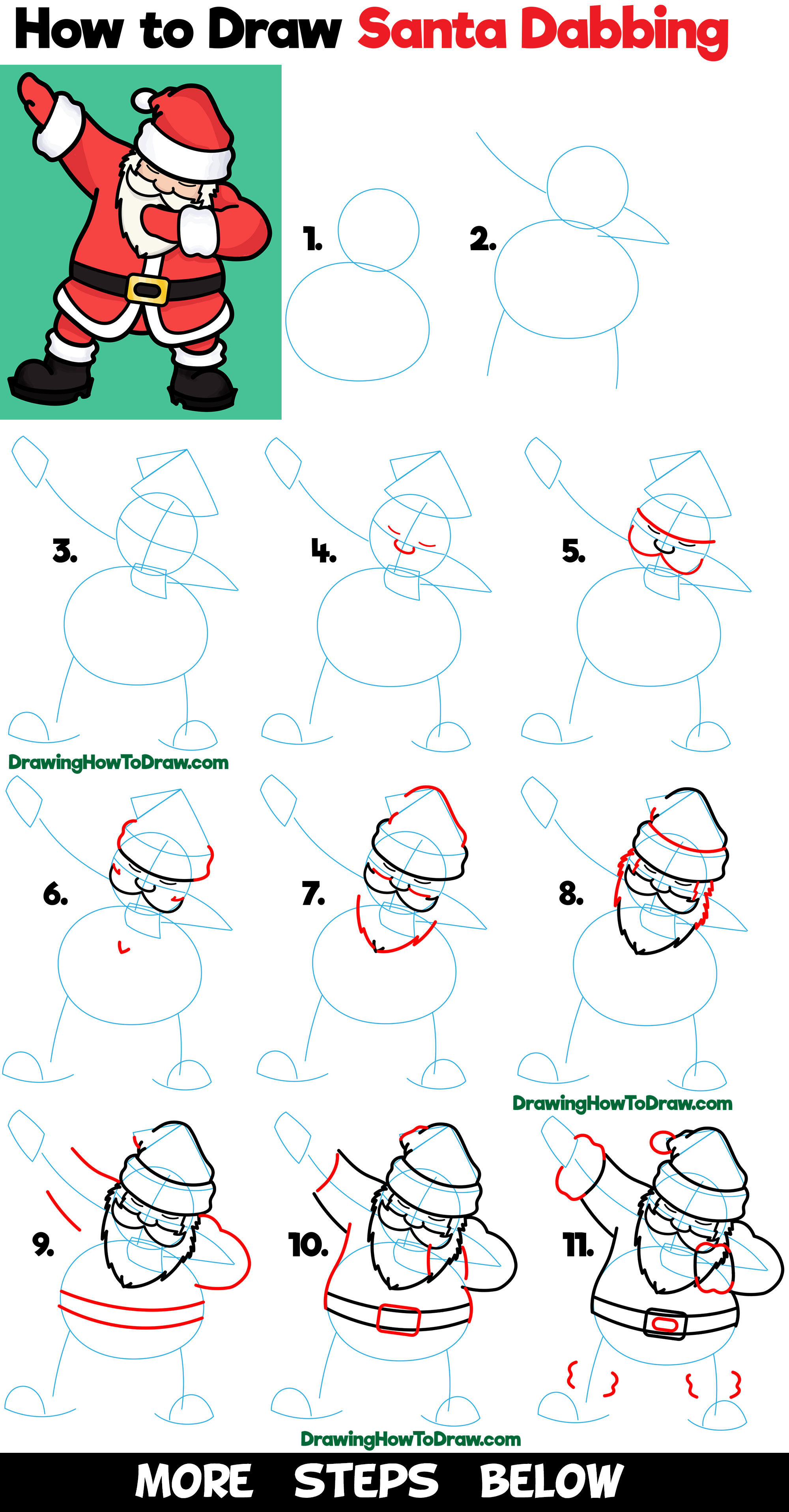 Learn How to Draw Santa Claus Dabbing Easy Steps Drawing Tutorial for Beginners