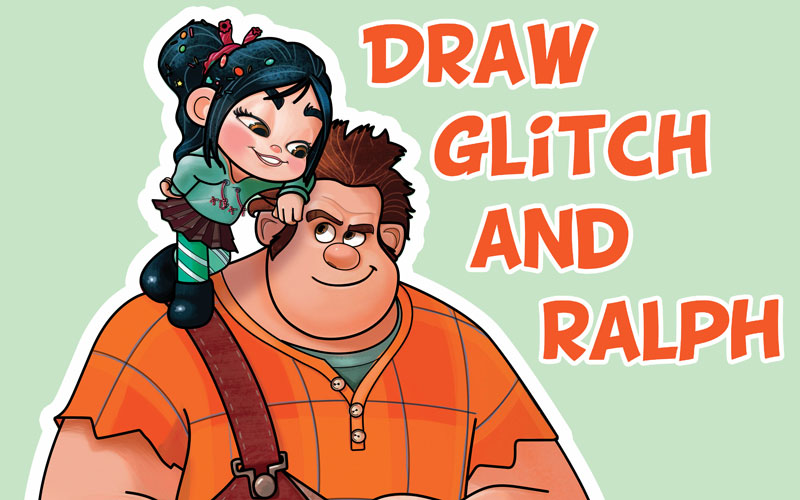 How to Draw Ralph and Vanellope (Glitch) from Wreck It Ralph 2 Easy Steps Drawing Lesson