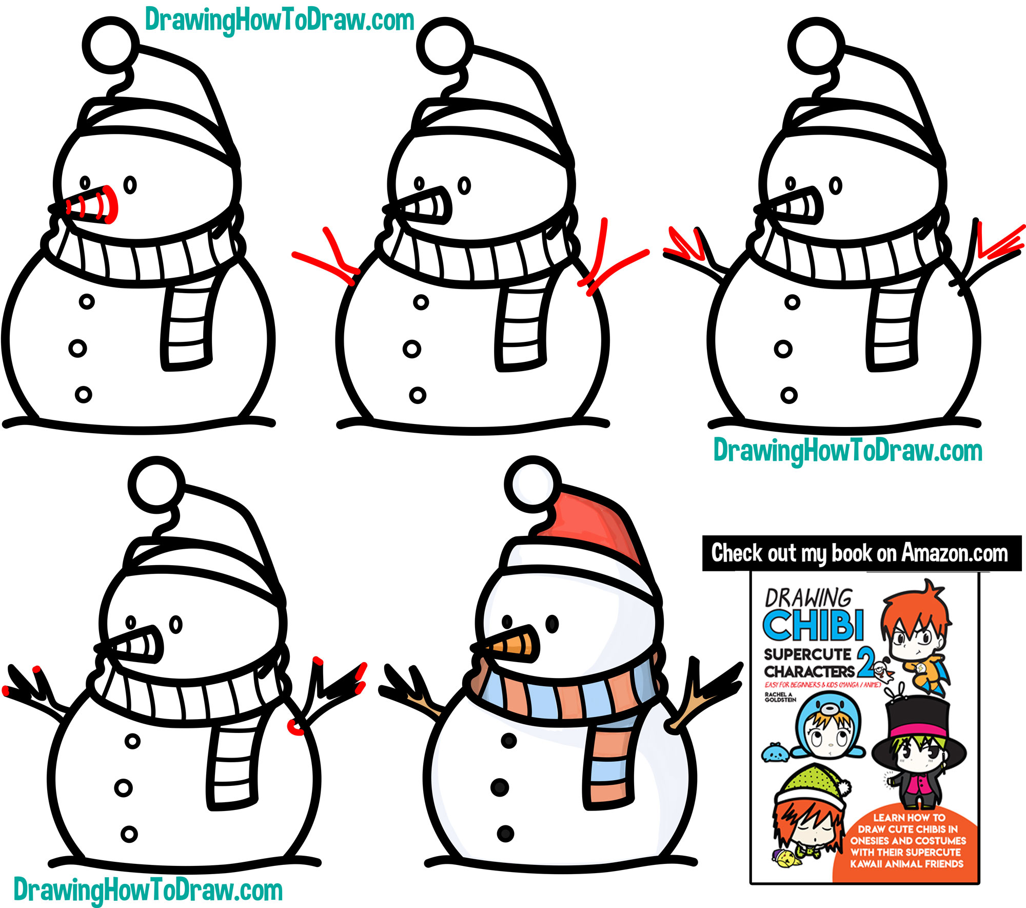 Learn How to Draw a Cute Cartoon Snowman Simple Steps Drawing Lesson for Beginners