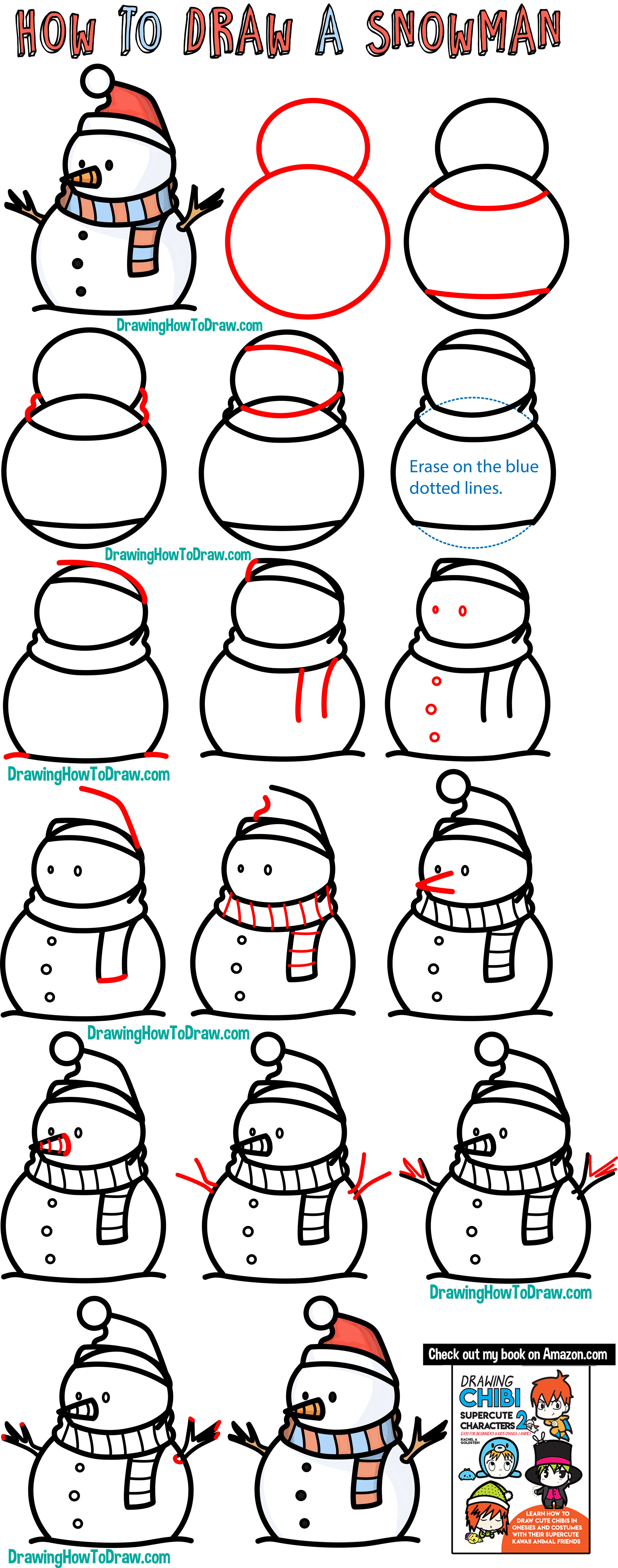 drawing a cute cartoon snowman for winter