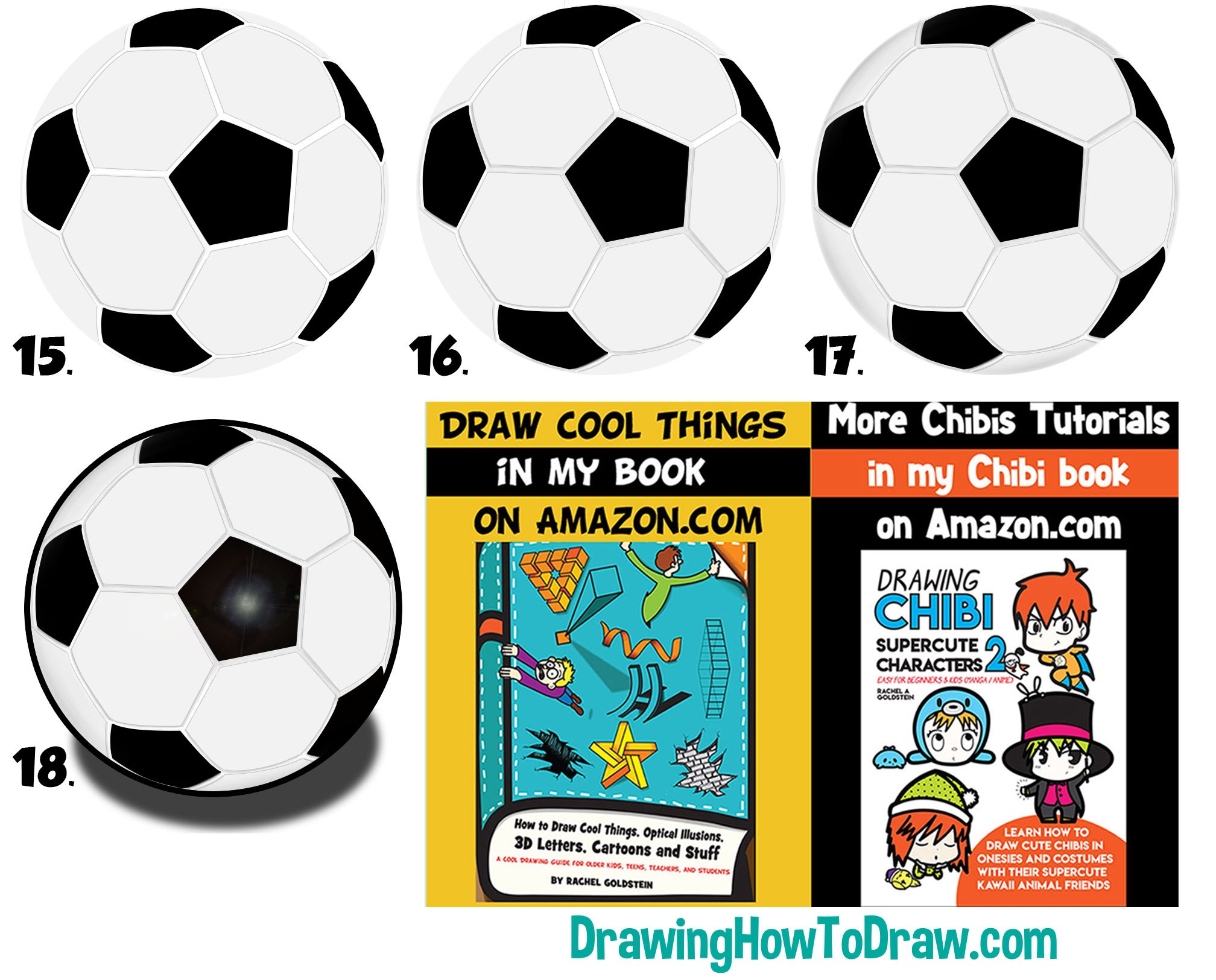 Learn How to Draw Soccer Balls Simple Steps Drawing Lesson for Beginners + Kids
