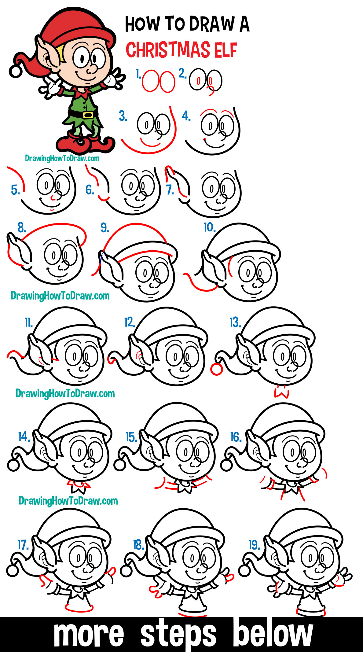 Learn How to Draw a Cartoon Elf for Christmas Easy Step by Step Drawing Lesson for Kids