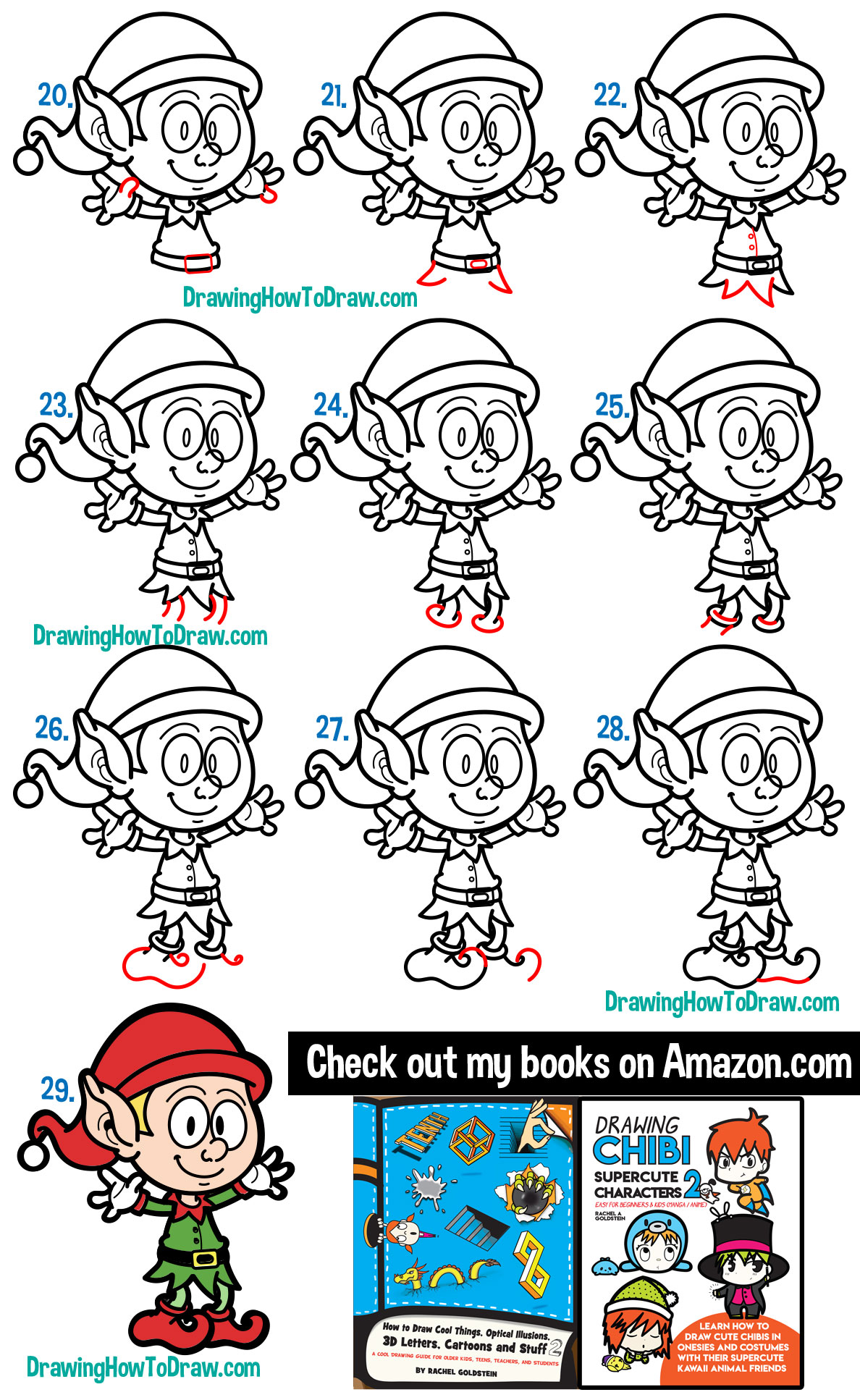 Learn How to Draw a Cartoon Elf for Christmas Simple Steps Drawing Tutorial for Beginners
