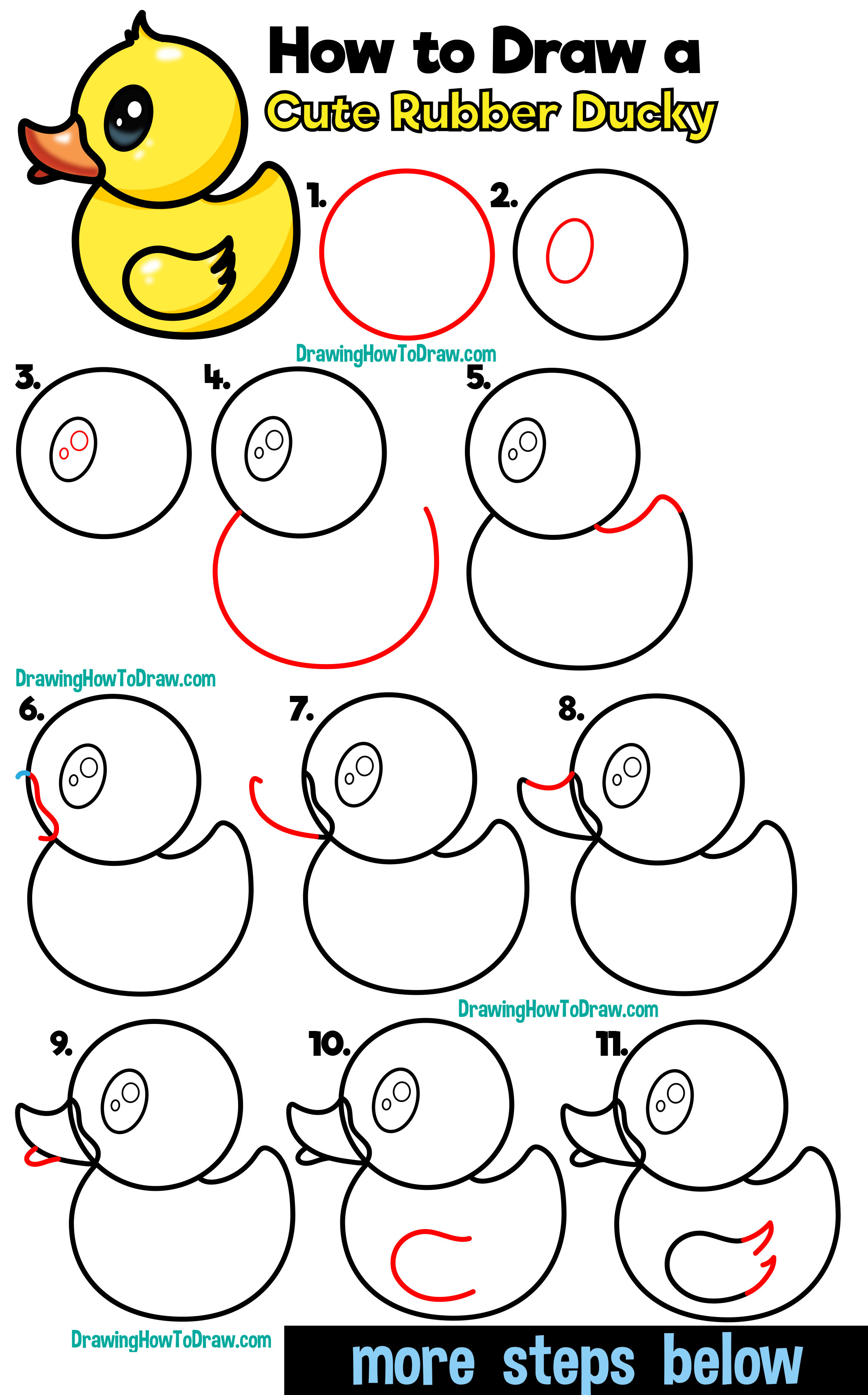 How To Draw A Cute Cartoon Rubber Ducky Easy Step By Step Drawing