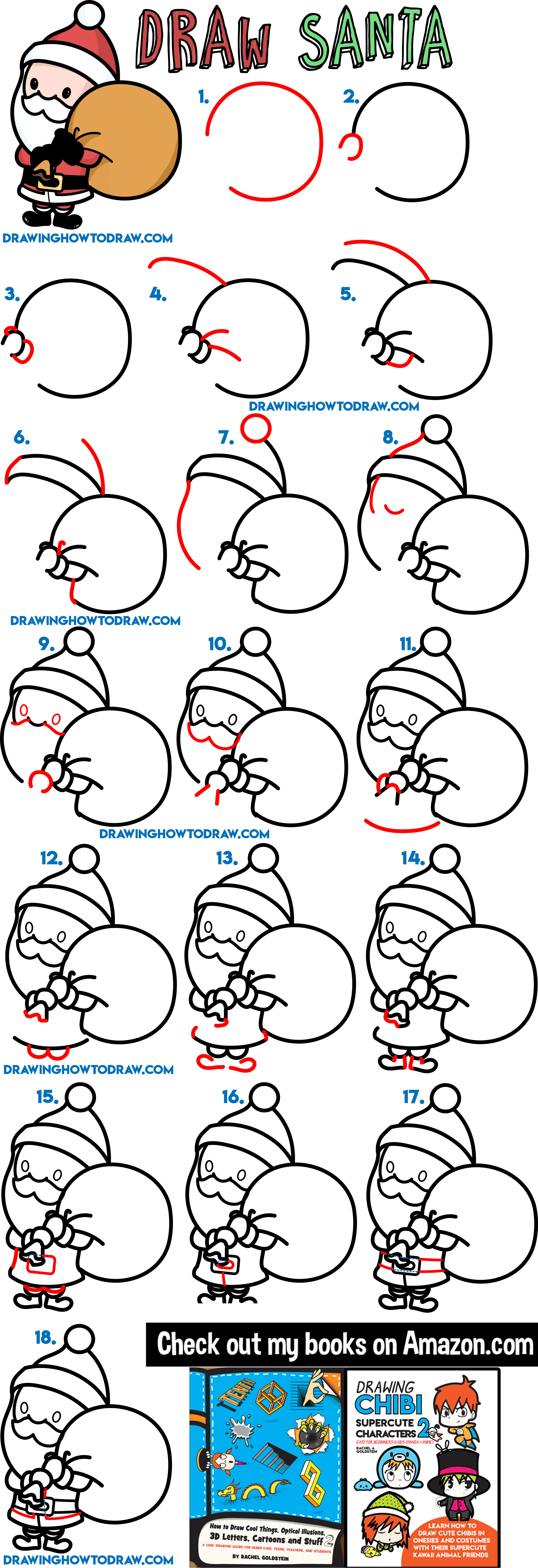 how to draw santa, how to draw santa claus, santa, santa claus, christmas, xmas, cartoon, chibi, kawaii