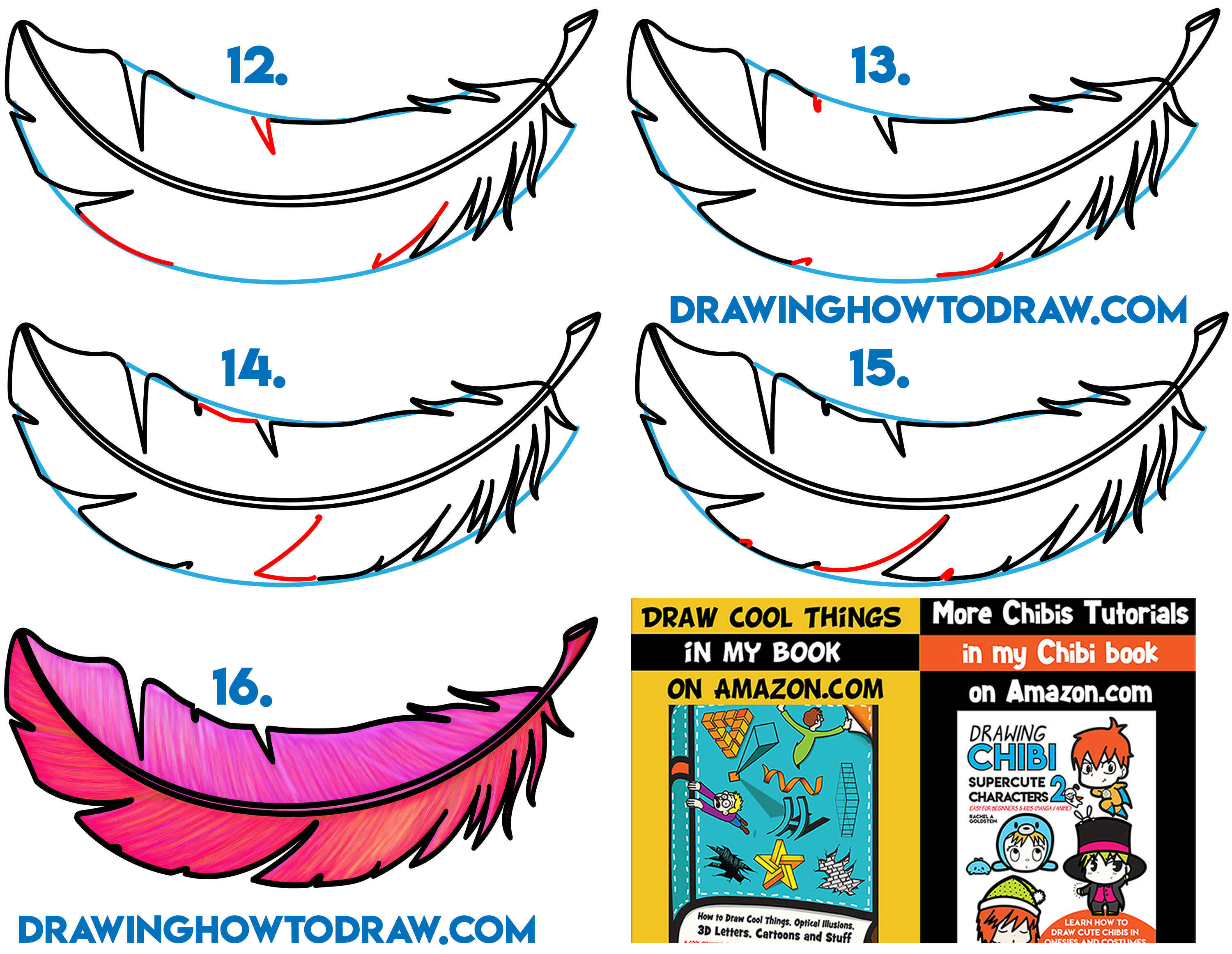 Learn How to Draw a Feather Simple Steps Drawing Lesson for Kids