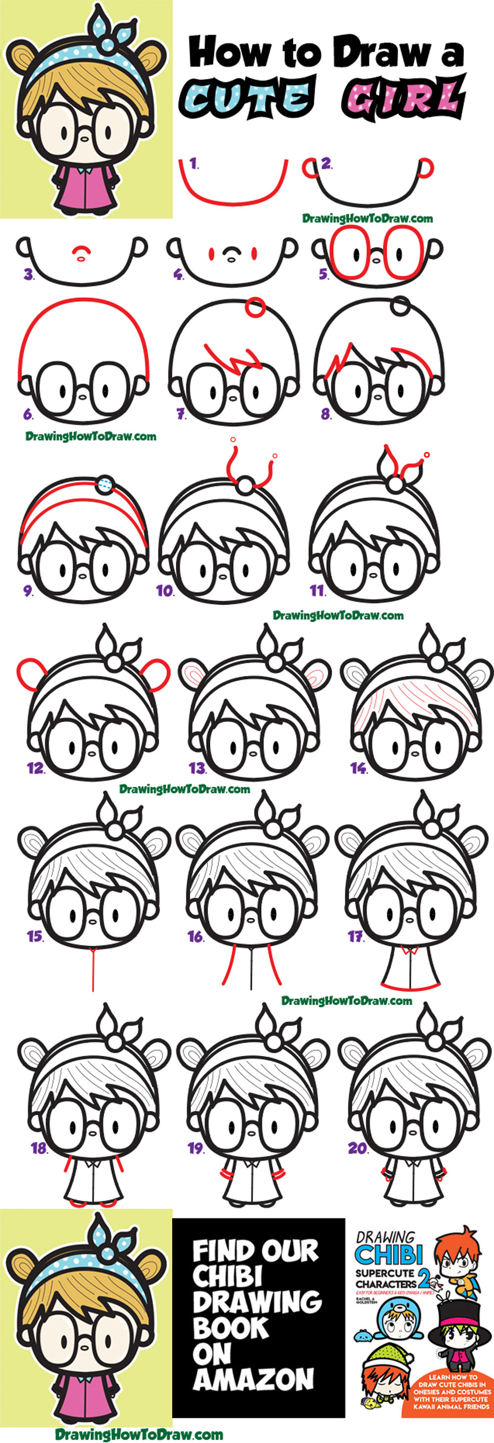 How To Draw A Cute Kawaii Girl With Buns Headband And Glasses
