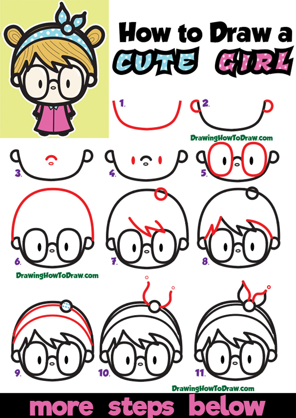 How to Draw a Cute Kawaii Girl with Buns, Headband, and ...