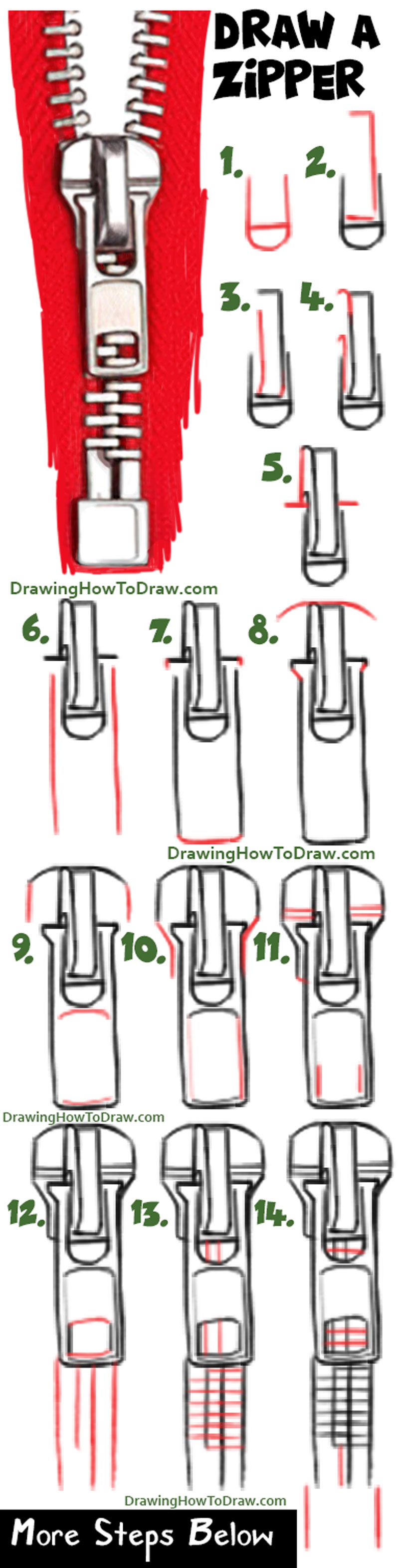 Learn How to Draw a Zipper Easy Step by Step Drawing Tutorial for Beginners