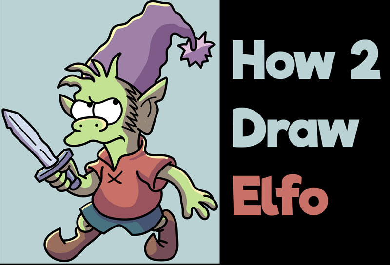 How to Draw Elfo from Disenchantment - Easy Step by Step Tutorial for Kids