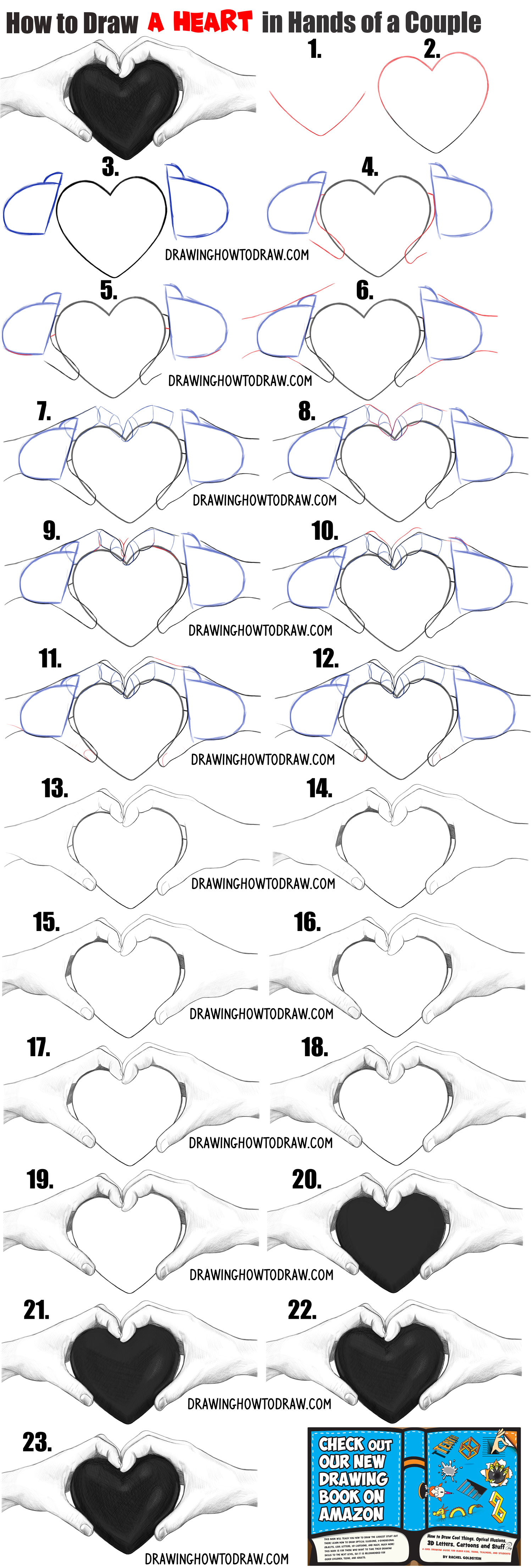 draw 2 realistic hands holding a 3d heart drawing tutorial