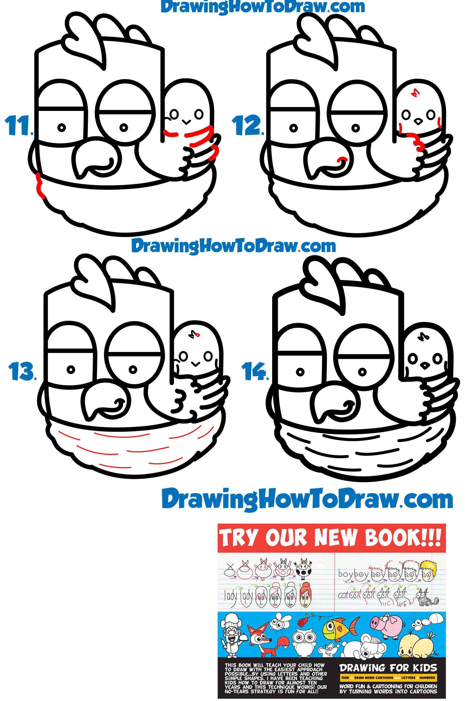 "Learn How to Draw a Cartoon Hen / Chicken from the Word ""hen"" Word Toon Simple Steps Drawing Lesson for Beginners"
