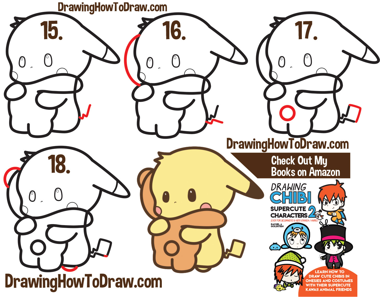 How to Draw a Cute Kawaii Pikachu and Teddiursa (Pokemon) Hugging Simple Steps Drawing Lesson for Kids