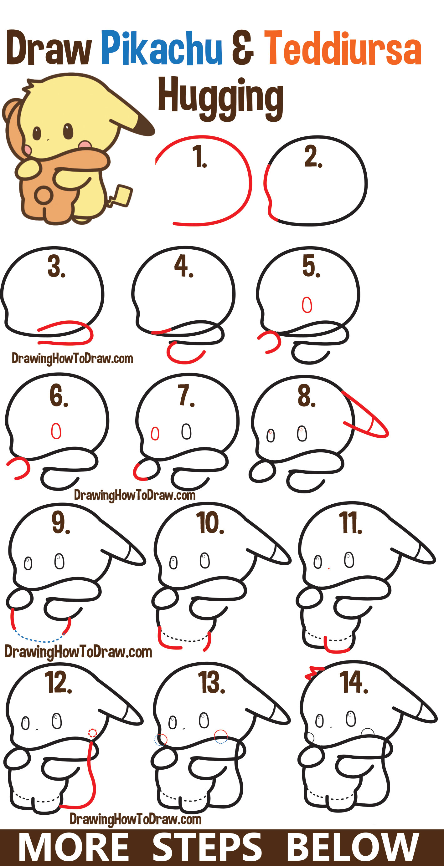 How to draw a cute kawaii pikachu and teddiursa pokemon hugging simple steps drawing lesson for kids