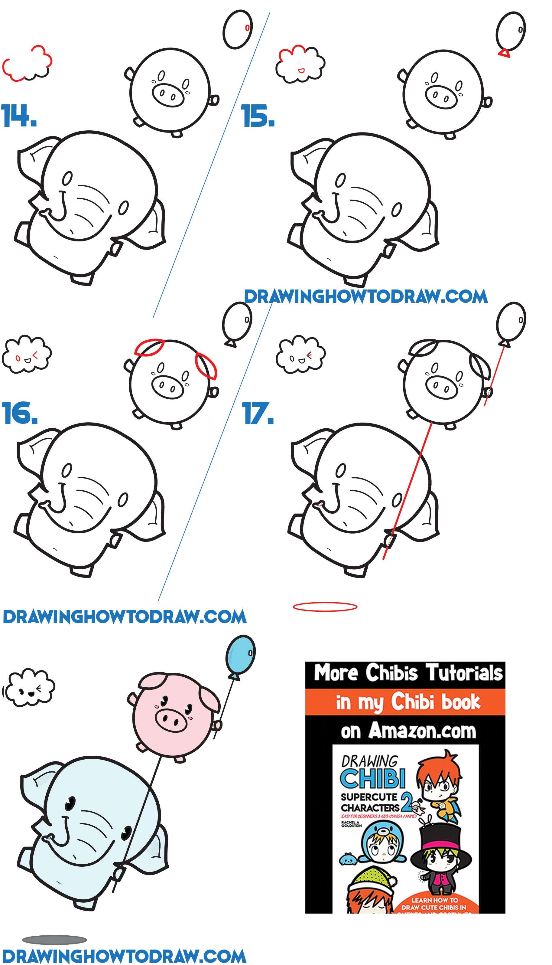 Learn How to Draw a Cute Kawaii / Chibi Elephant Holding a Pig Balloon Simple Step by Step Drawing Tutorial for Beginners