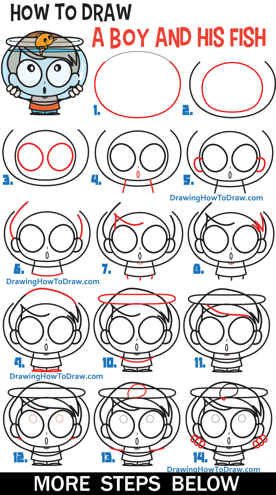 Learn How to Draw a Cute Cartoon Boy Holding a Fish Bowl Easy Step by Step Tutorial for Beginners