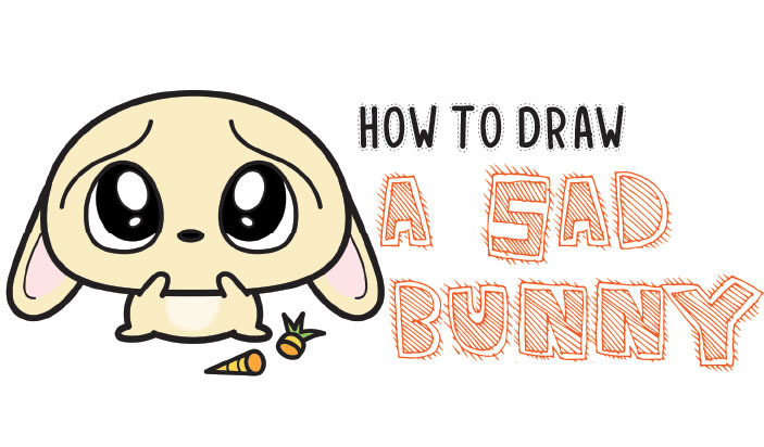 How to Draw a Sad, Scared, Worried Cartoon Bunny Rabbit with Easy Steps Tutorial