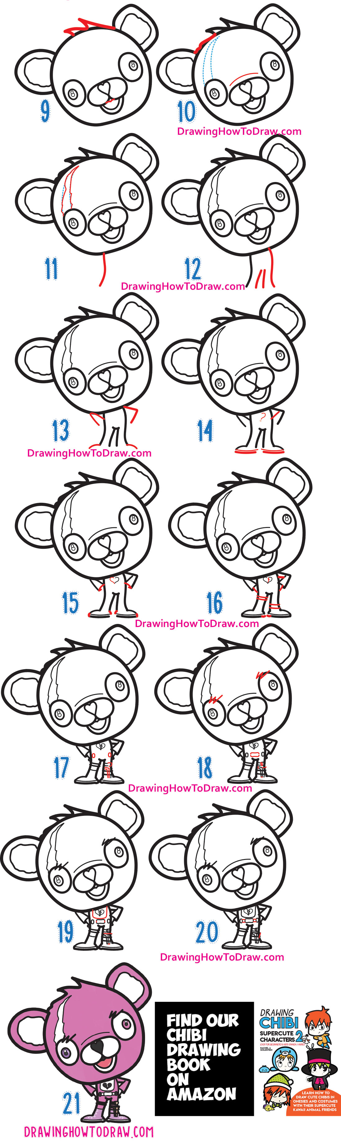How to Draw a Cute / Chibi Cuddle Team Leader from Fortnite - Simple Steps Drawing Lesson for Beginners