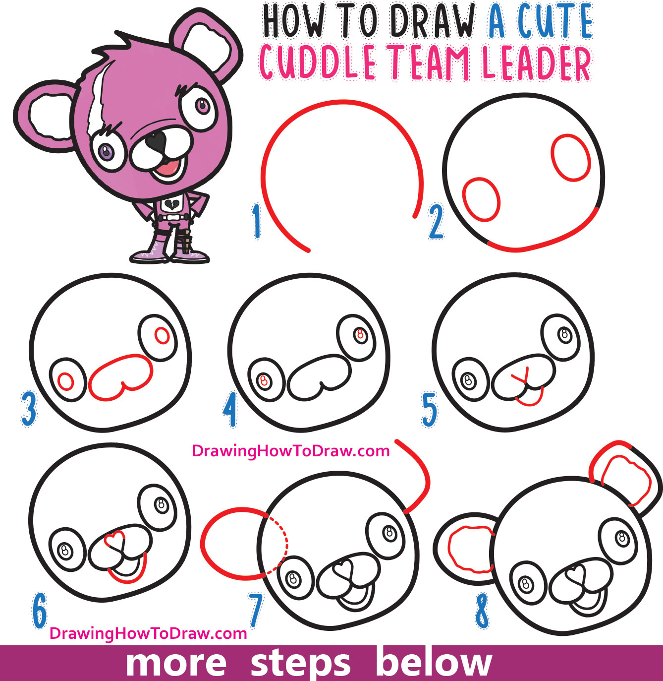 How to Draw a Cute Cuddle Team Leader from Fortnite - Easy Step by Step Drawing Tutorial for Beginners