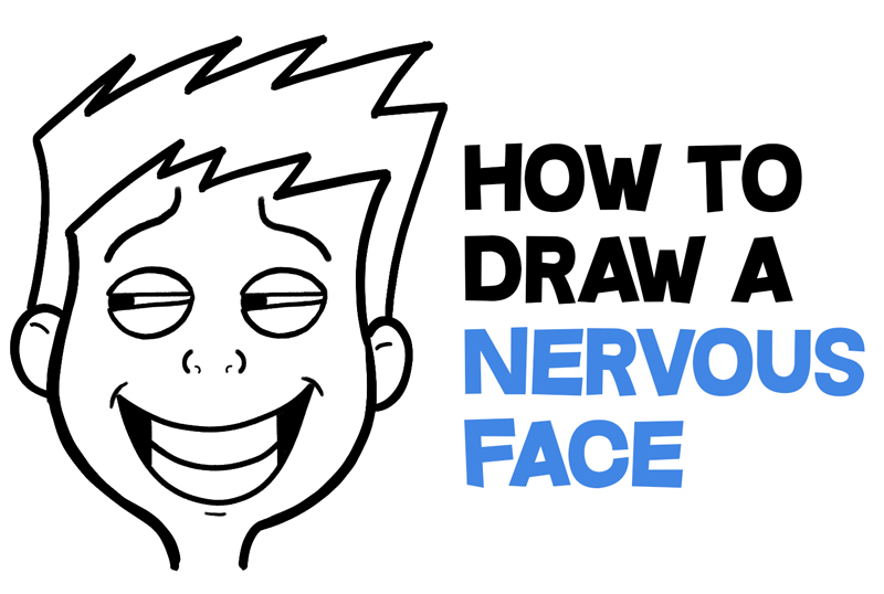 How to Draw Cartoon Facial Expressions : Uneasy, Uncomfortable, Embarrassed, Nervous Simple Lesson for Kids