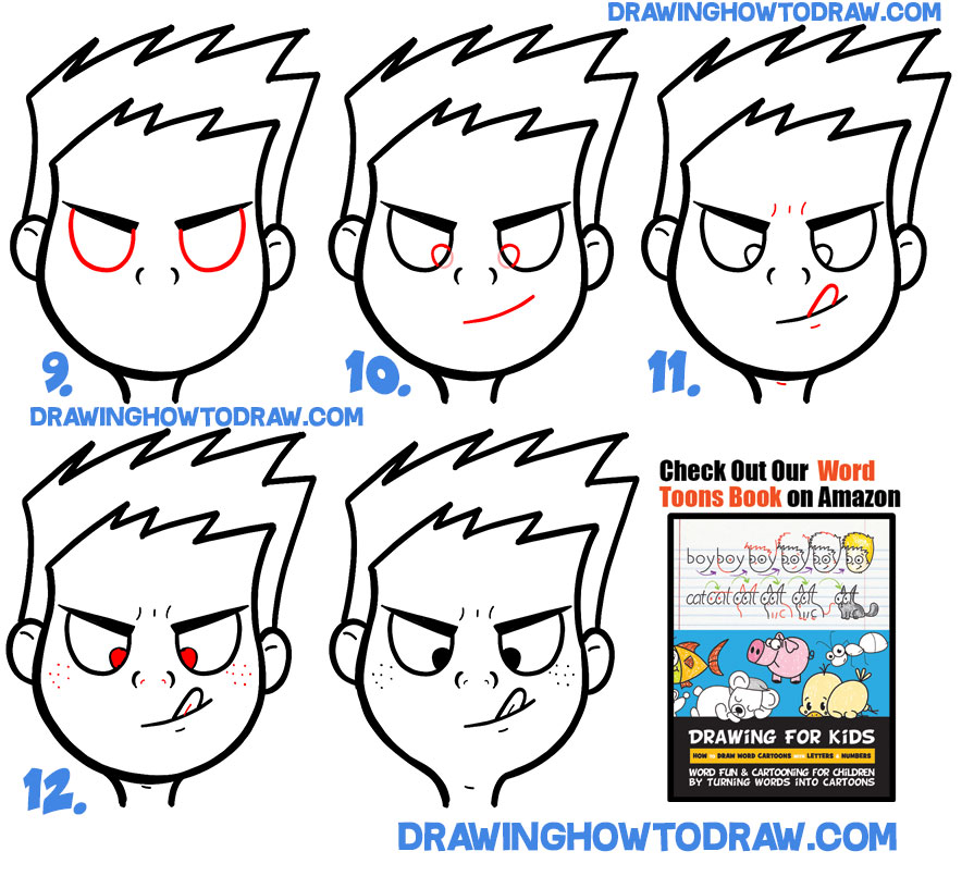 How to Draw a Silly Cartoon Face Trying to Touch Tongue to Nose Simple Steps Drawing Lesson
