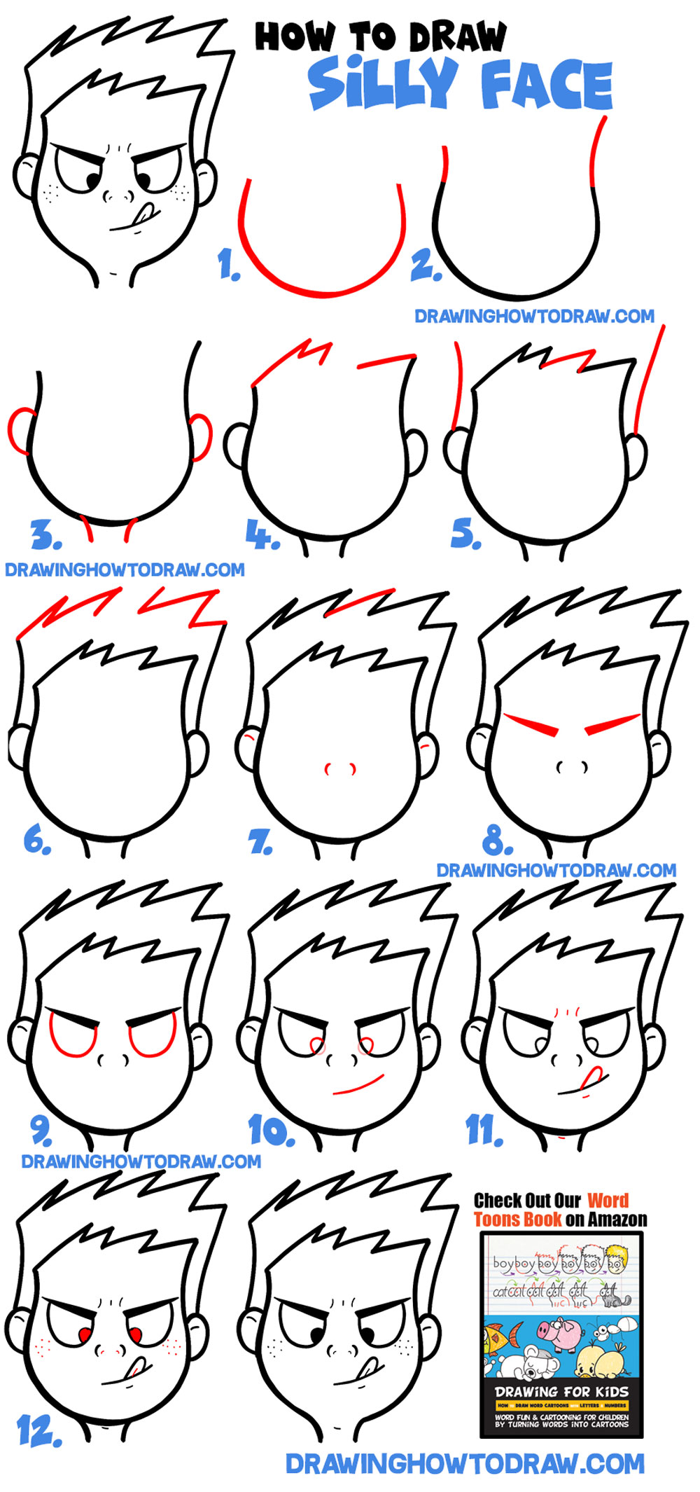 how to draw a silly face