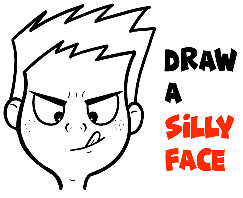 Learn How to Draw a Silly Cartoon Face Trying to Touch Tongue to Nose Easy Step by Step Drawing Tutorial for Kids and Beginners