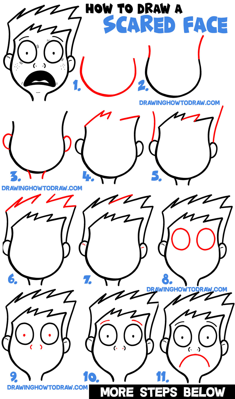 Learn How to Draw Cartoon Facial Exressions : Scared, Petrified, Afraid, Terrified, Panic (Easy Step by Step Drawing Tutorial)