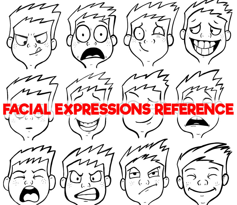 Facial Expressions and Silly Cartoon Faces Reference Sheet