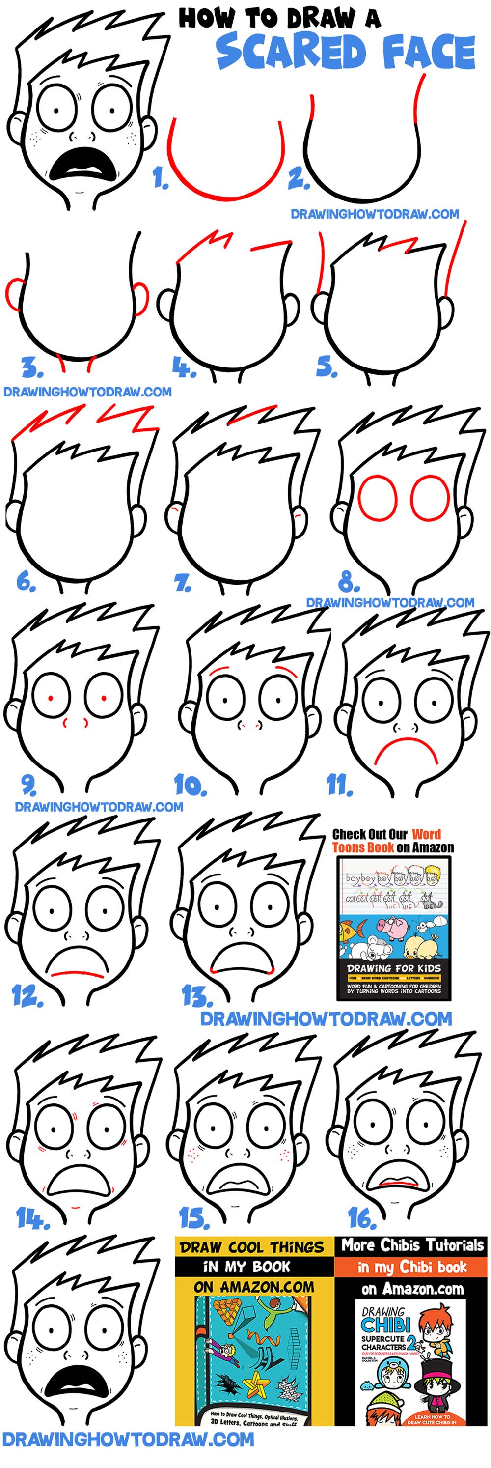 how to draw a cartoon face scared, terrified, petrified, anxious, afraid scared