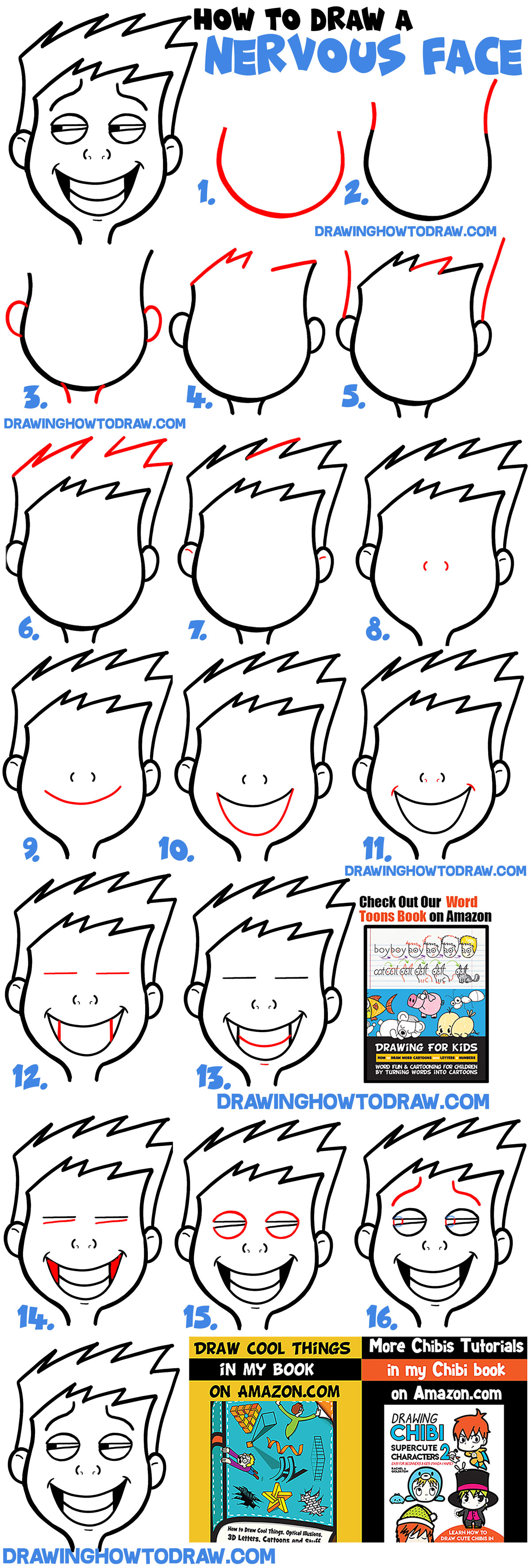 How to Draw Cartoon Facial Expressions : Uneasy, Uncomfortable, Embarrassed, Nervous