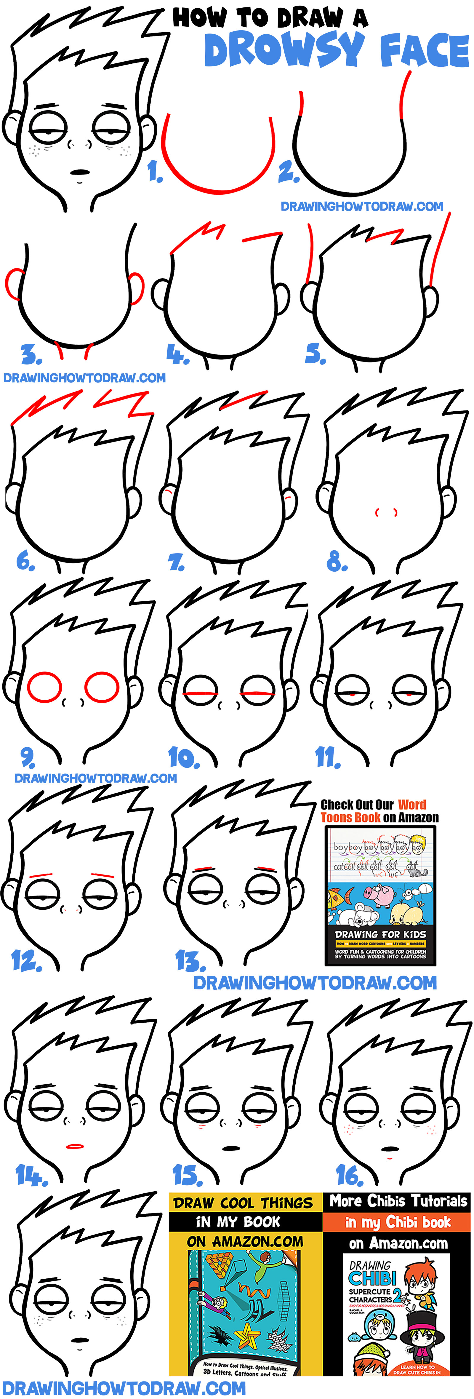 How to Draw Cartoon Facial Expressions: Drowsy, Tired, Feeling Sick : Simple Steps Drawing Lesson