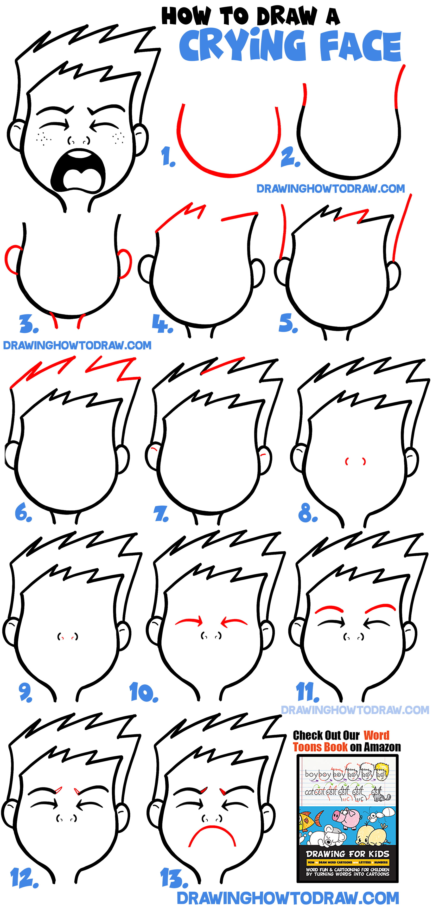 How to Draw Cartoon Facial Expressions : Crying, Sad, Sobbing, Bawling : Simple Lesson for Kids