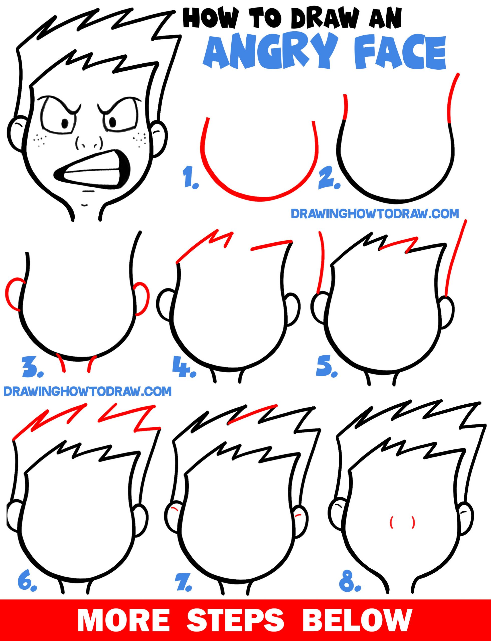 How to Draw Cartoon Facial Expressions : Angry, Furious, Mad