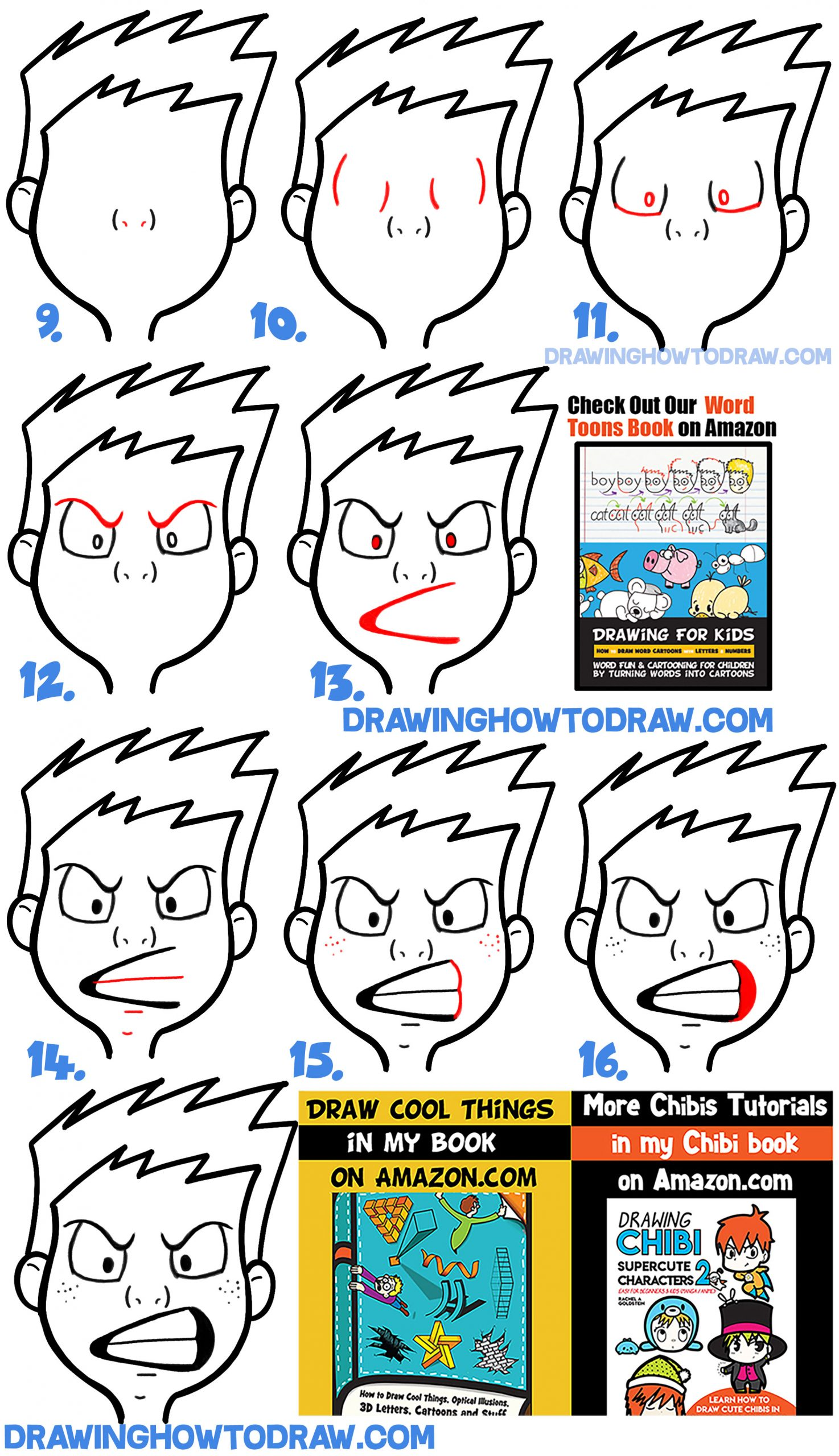How to Draw Cartoon Facial Expressions : Angry, Furious, Mad : Step by Step Tutorial for Kids