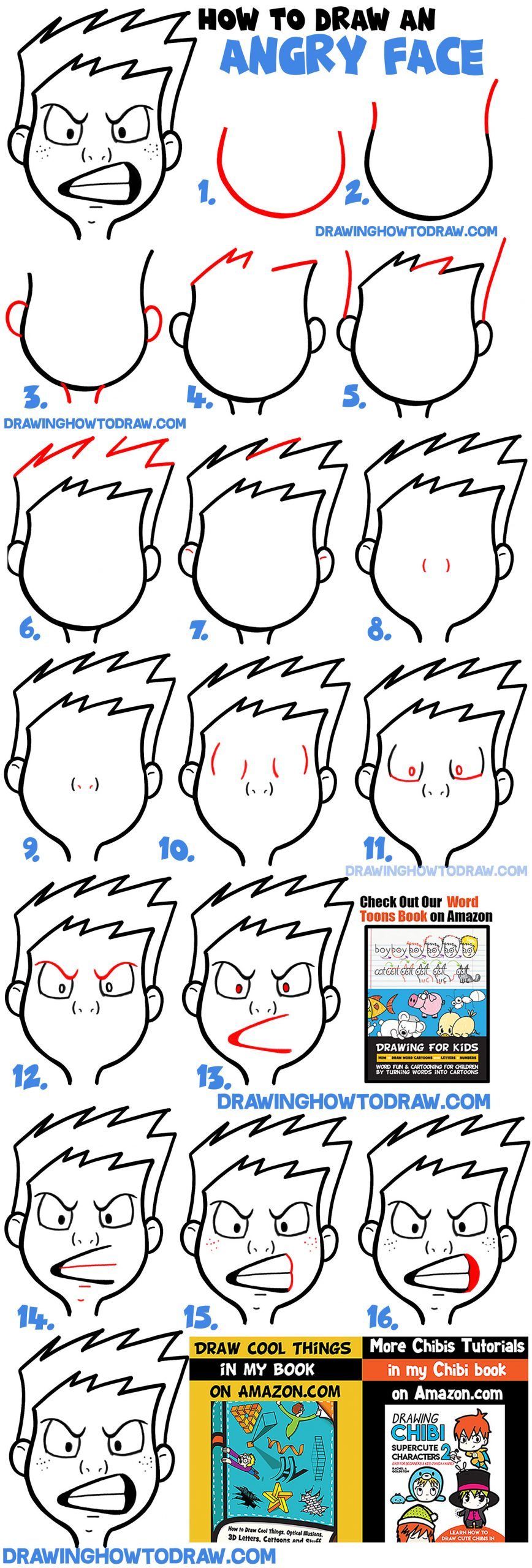 Learn how to draw a cartoon angry face simple steps