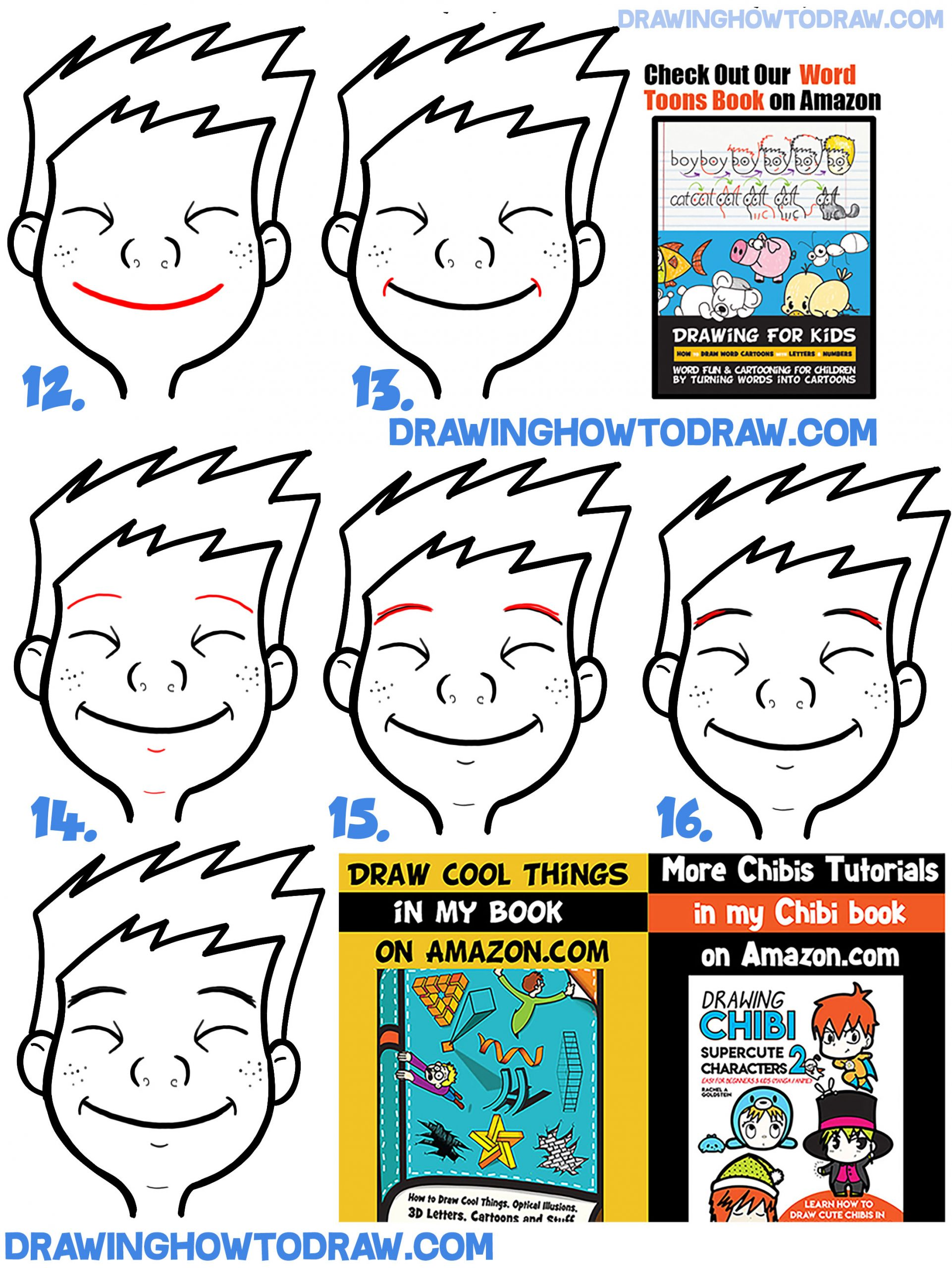 Learn How to Draw Cartoon Facial Expressions : Happy, Smiling, Grinning Ear to Ear : Easy Step by Step