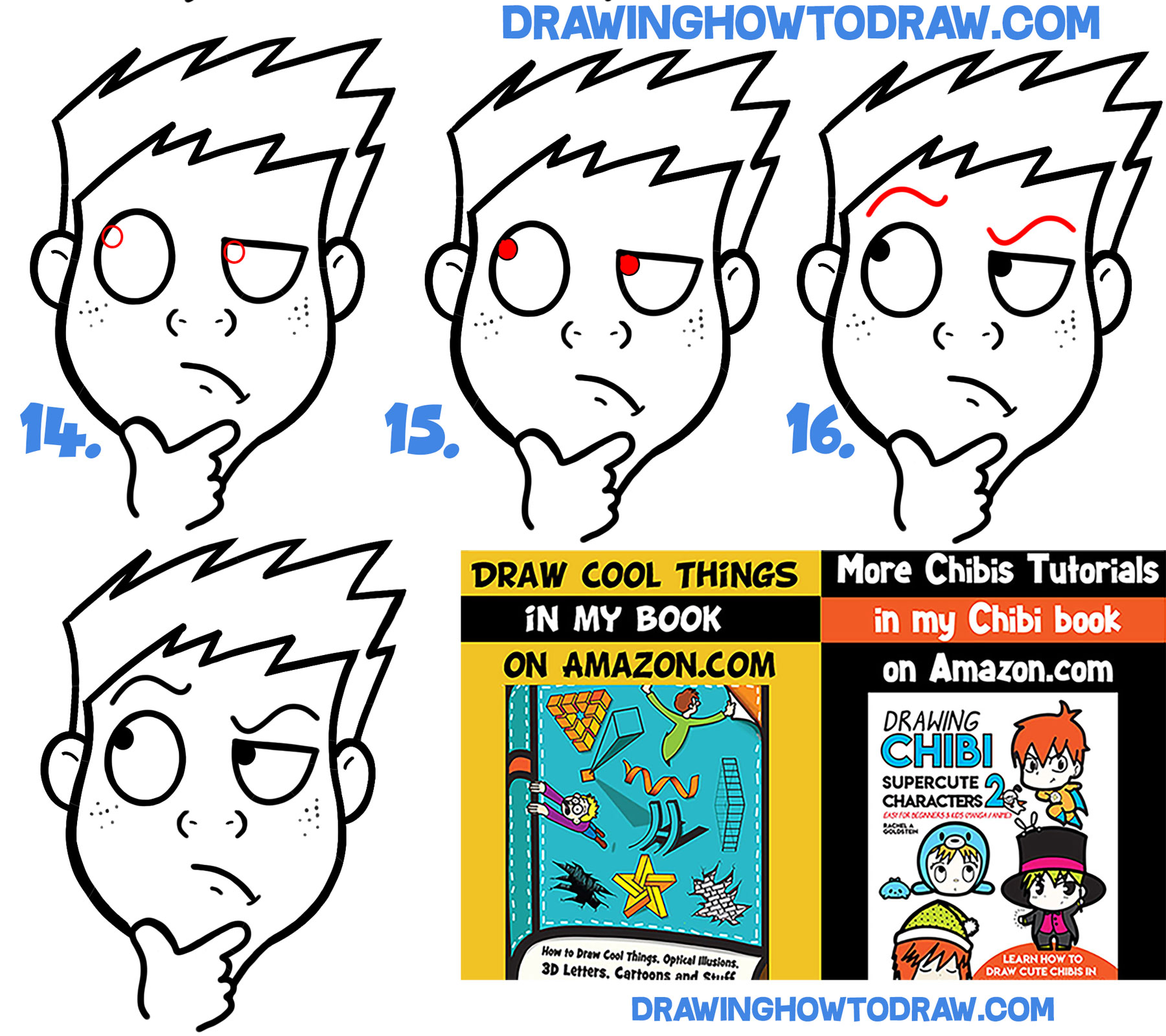 how to draw thinking figuring out cartoon face easy step by step