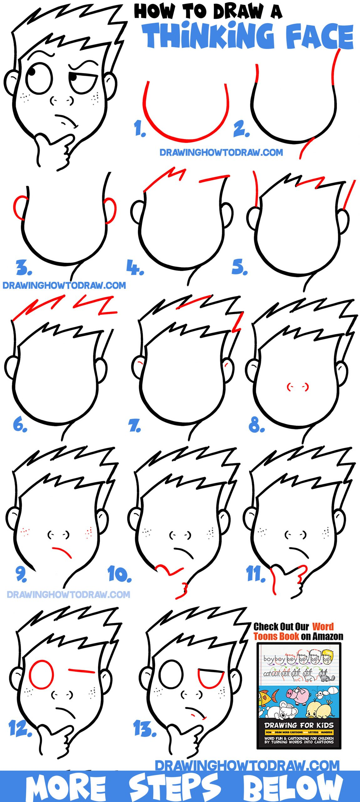 Learn How to Draw Cartoon Facial Expressions : Thinking, Wondering, Figuring