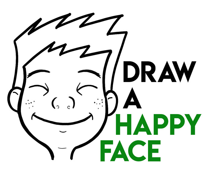 How to Draw Cartoon Facial Expressions : Happy, Smiling, Grinning Ear to Ear