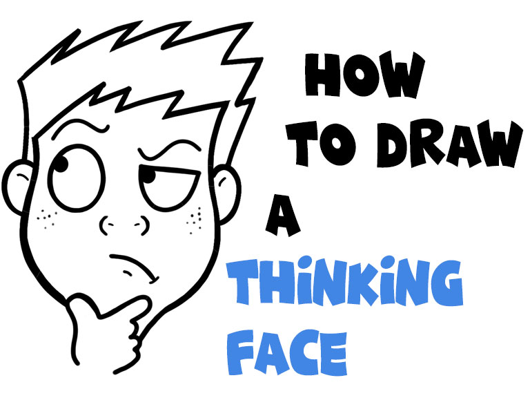 how to draw thinking figuring out cartoon face simple steps tutorial