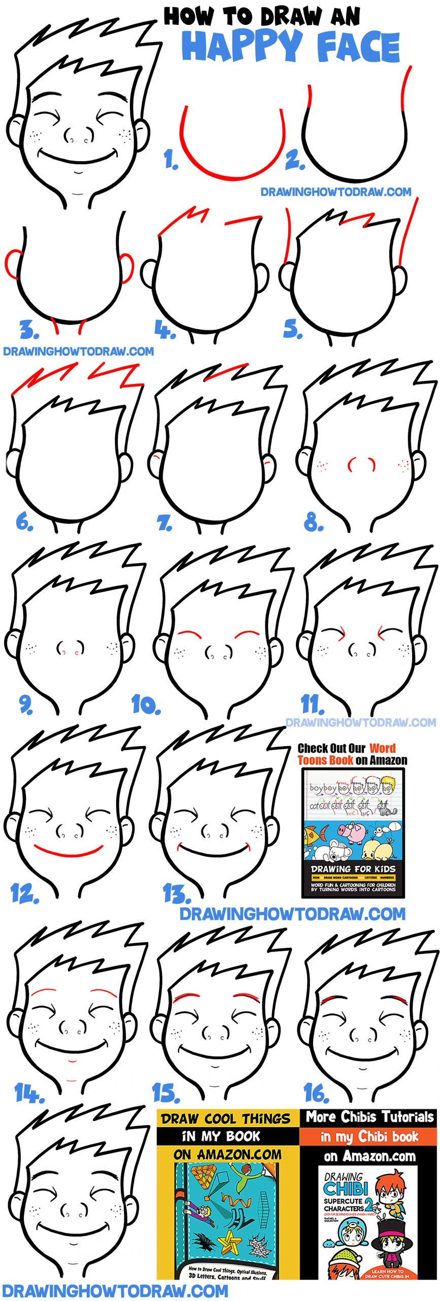 how to draw cartoon smiling happy face - easy step by step expressions