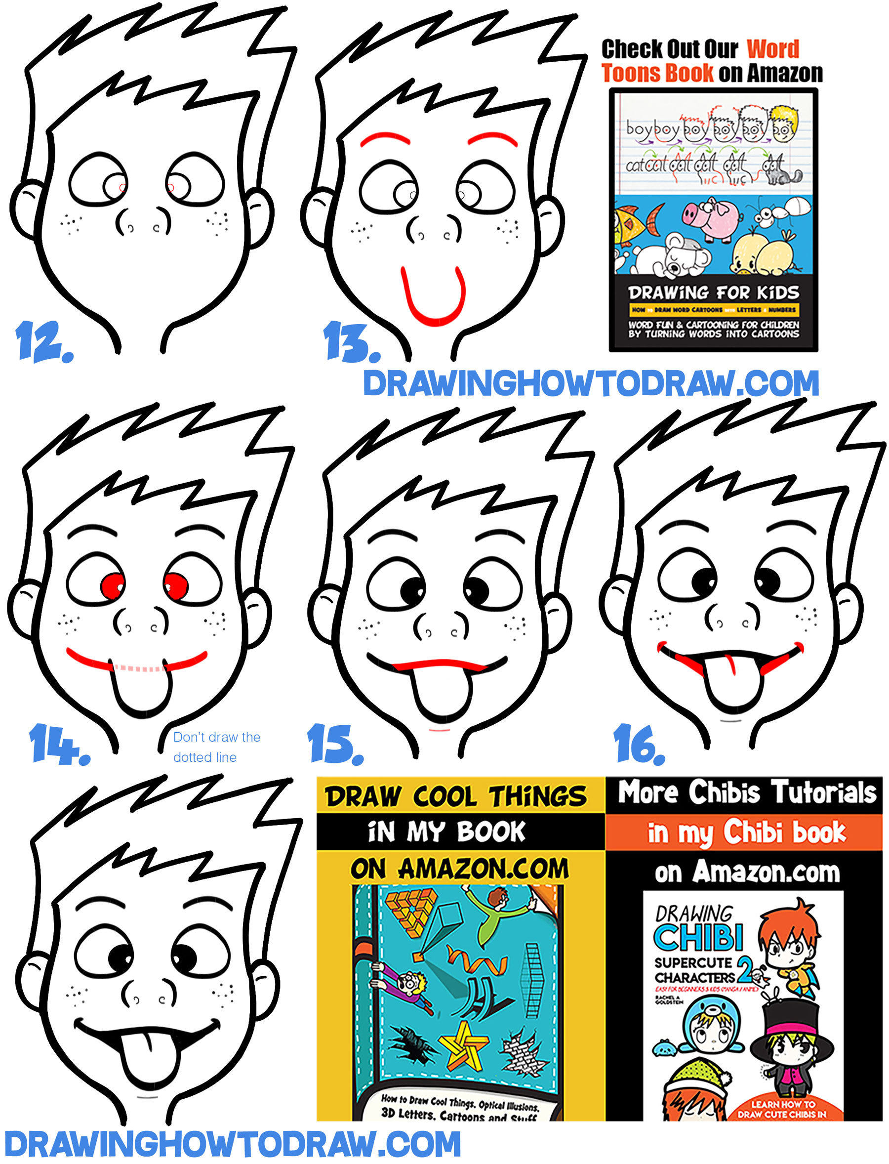 Learn to draw silly cartoon faces with simple lesson for kids