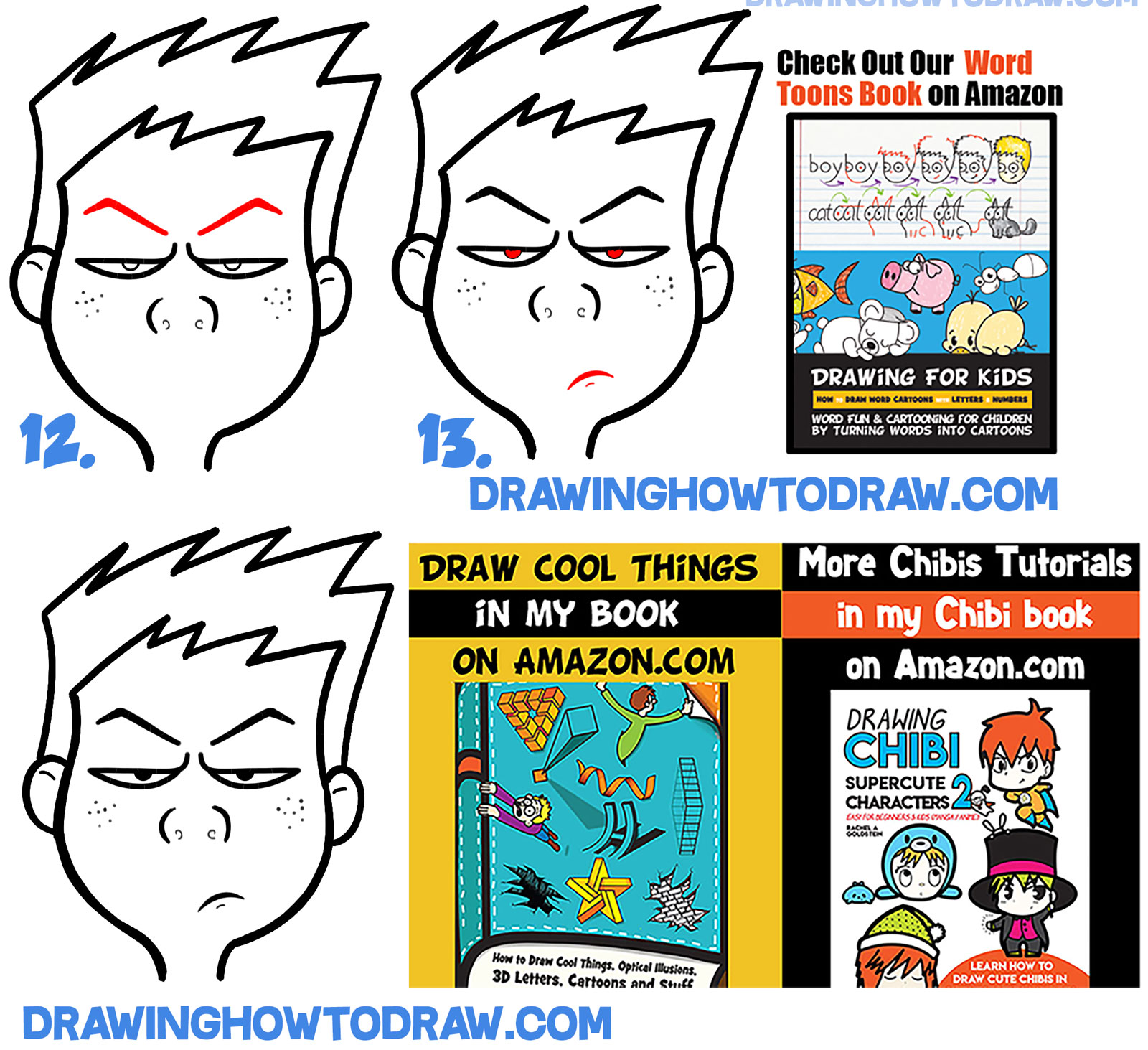 drawing angry mad irritated agitated cartoon face lesson