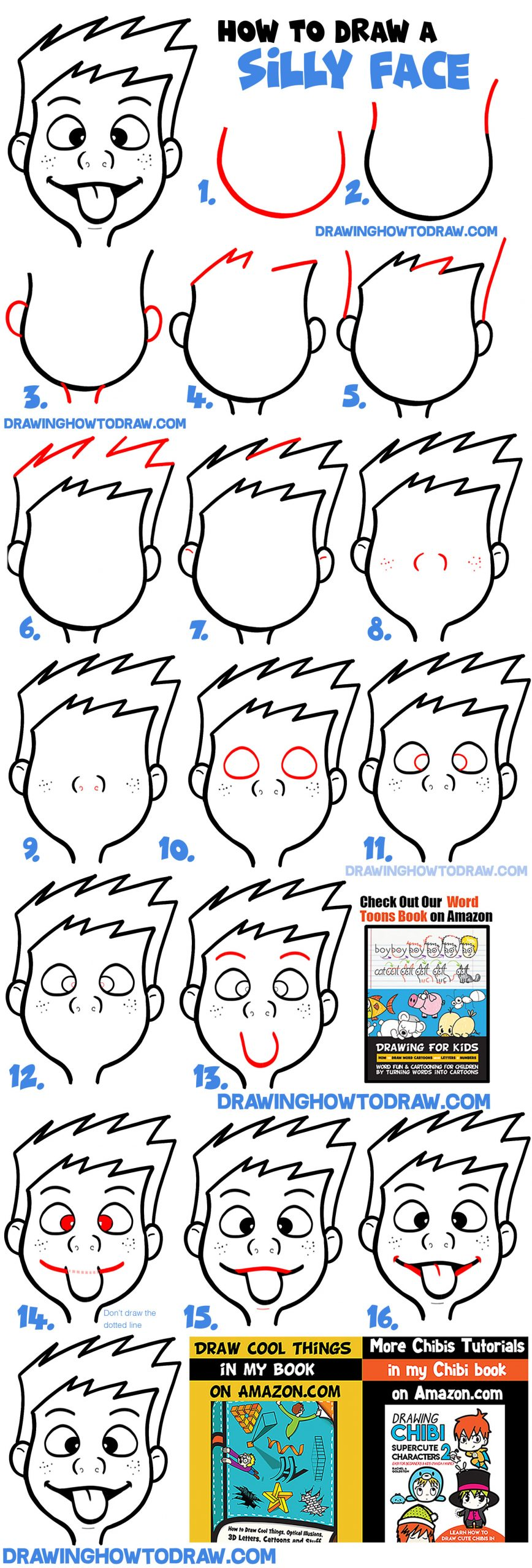 How to draw a cute cartoon boy or girl sticking tongue out