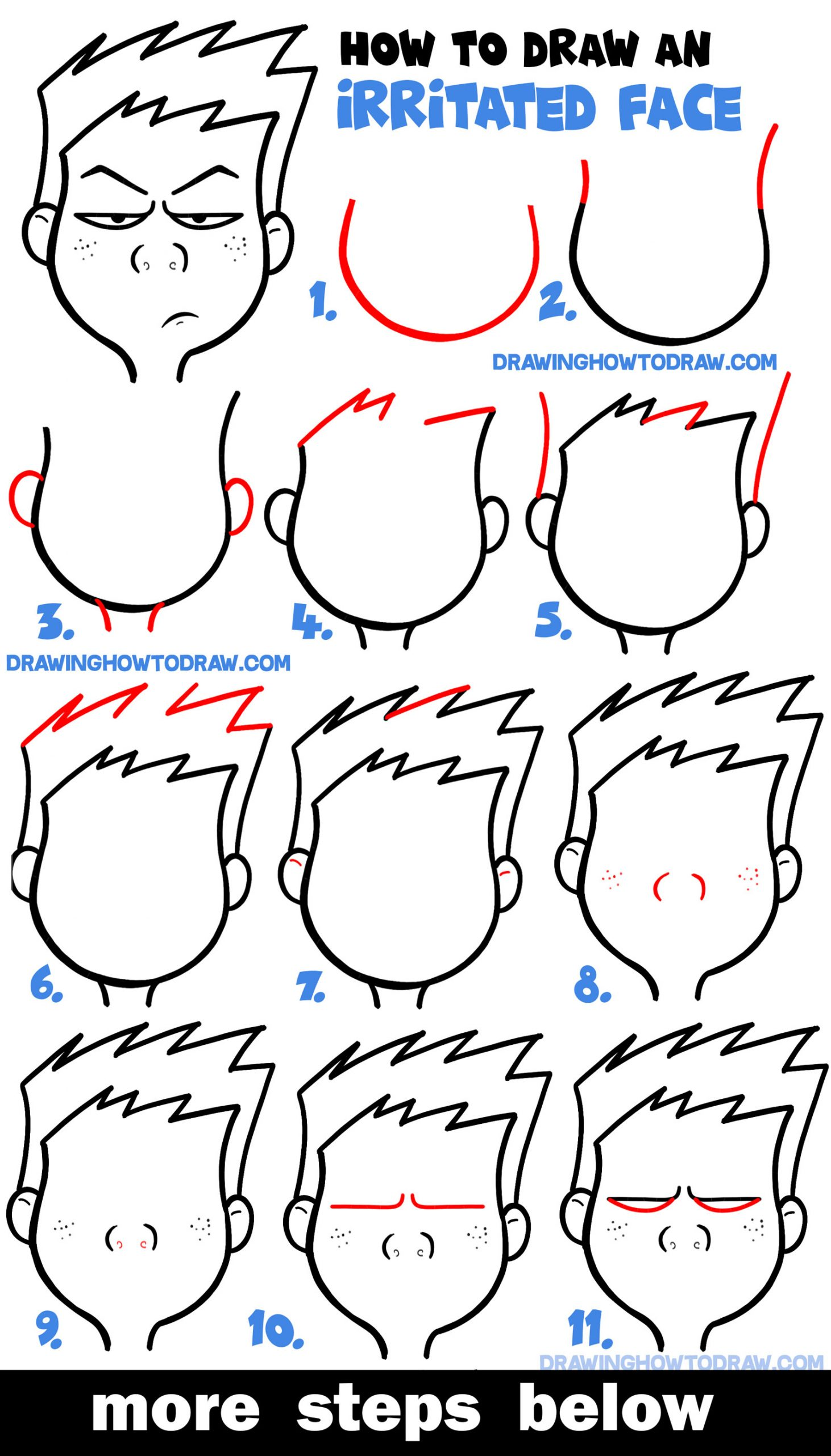 Learn How to Draw Cartoon Facial Expressions : Irritated, Agitated, Angry Faces Tutorial