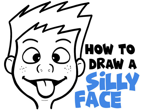 How to Draw Cartoon Facial Expressions : Silly Faces, Tongue Sticking Out - Easy Step by Step Drawing Tutorial