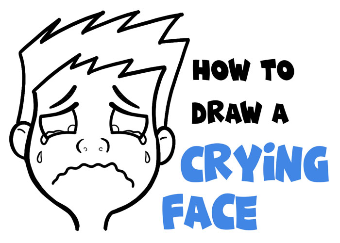 draw a cartoon crying face simple lesson