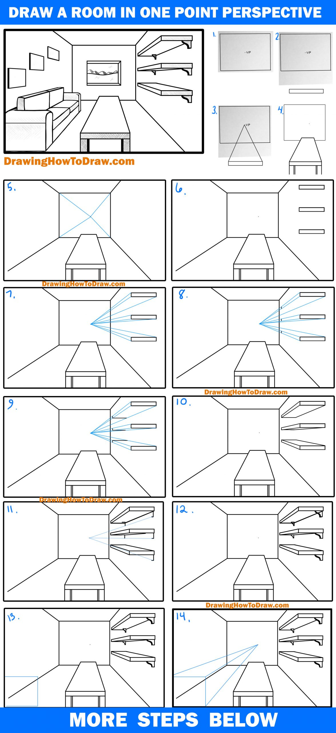 Learn How to Draw a Living Room in 1 Point Perspective Easy Step by Step Drawing Tutorial